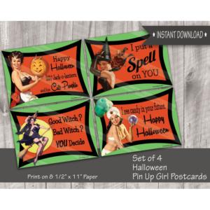 retro pin-up girls Halloween postcards - set of 4