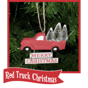 red truck Christmas button