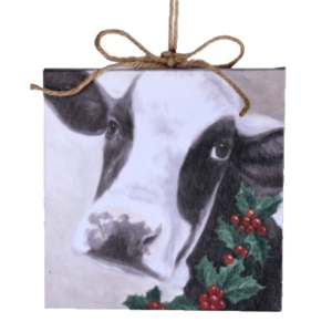canvas cow ornament