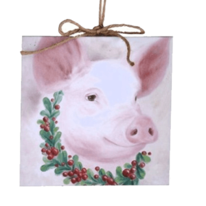 canvas pig ornament