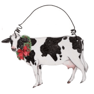 cow with wreath ornament