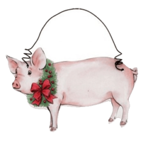 pig with wreath
