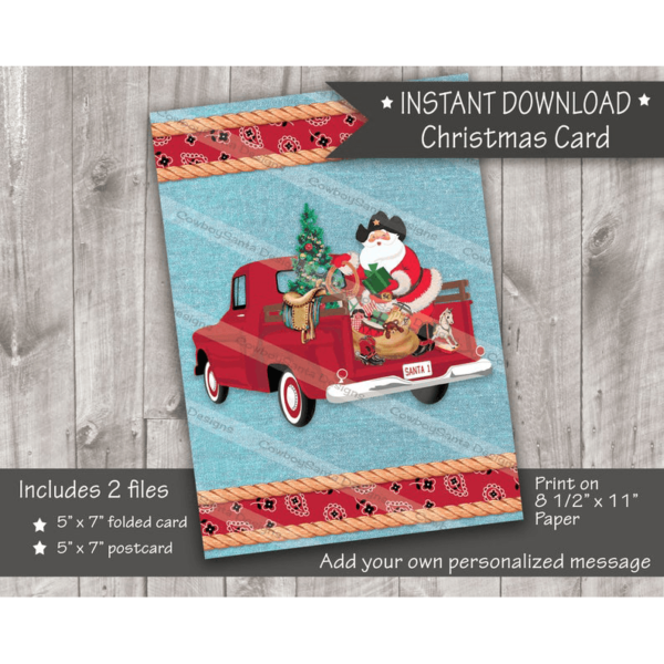 Cowboy Santa in back of truck Christmas card