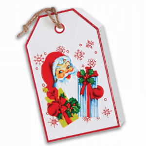 retro Santa tag sign - enamel