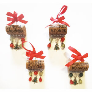 Merry Christmas wine cork Ornament - set of 4
