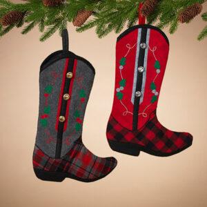plaid cowboy boot stockings