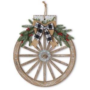 ornament-shaped wagon wheel wreath