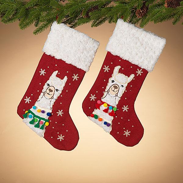 llama Christmas stockings