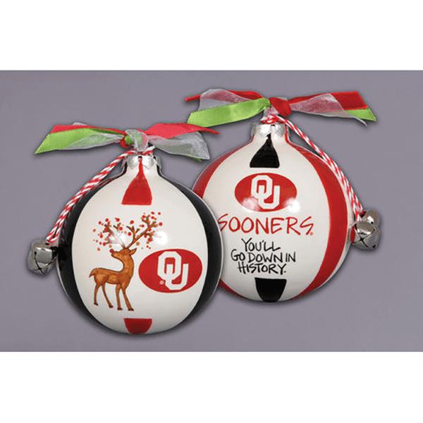 ceramic University of Oklahoma ornament - reindeer