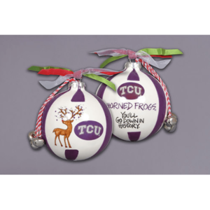 ceramic TCU ornament - reindeer