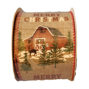 "Christmas barn ribbon - 2.5"" x 10 yards"