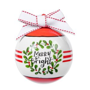 merry and bright ceramic ornament