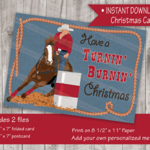 Turnin' Burnin' Christmas Barrel Racer Western Christmas Card