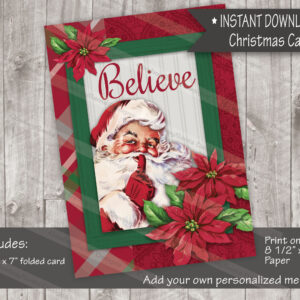 Believe Poinsettia Santa Christmas Card