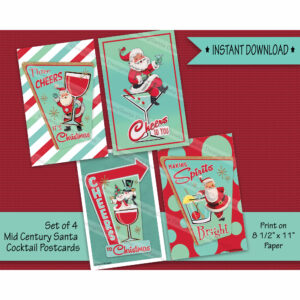 Retro Mid Century Cocktail Santa Christmas Postcard-Set of 4