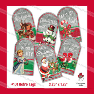 Galvanized Look Retro Christmas Gift Tags