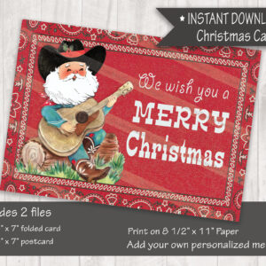Cowboy Santa Singing Western Christmas Card