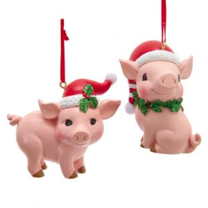 Pig with Santa Hat Ornament