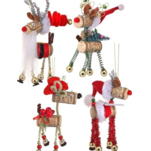 reindeer wine cork ornaments