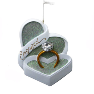 engaged ornament with ring in heart-shaped box