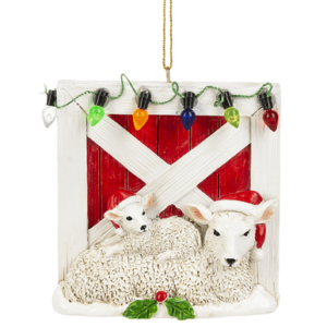 sheep at gate ornament