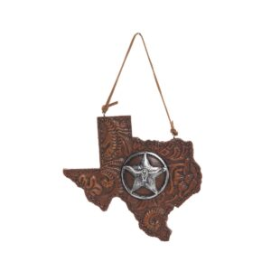 Tooled leather-look Texas shaped ornament