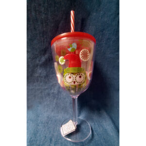 Acrylic Wine Glass With Christmas Owl