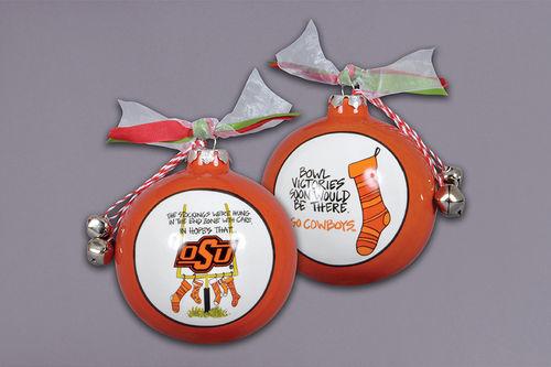 Ceramic Oklahoma State Ornament-Stockings